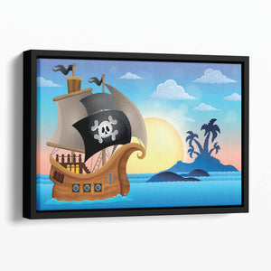 Pirate ship near small island 4 Floating Framed Canvas