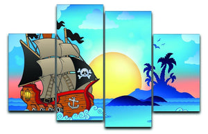 Pirate ship near small island 4 Split Panel Canvas  - Canvas Art Rocks - 1
