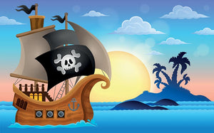 Pirate ship near small island 4 Wall Mural Wallpaper - Canvas Art Rocks - 1
