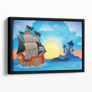 Pirate ship near small island Floating Framed Canvas