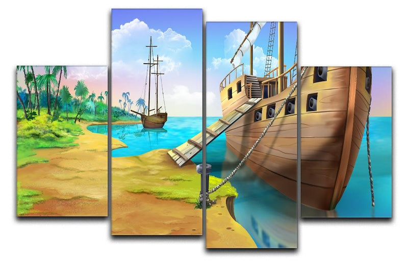 Pirate ship on the shore of the Pirate Island 4 Split Panel Canvas  - Canvas Art Rocks - 1