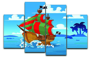 Pirate ship sails the seas 4 Split Panel Canvas  - Canvas Art Rocks - 1