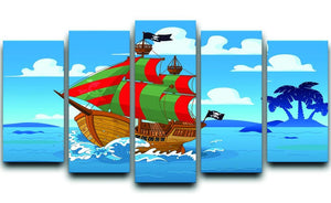 Pirate ship sails the seas 5 Split Panel Canvas  - Canvas Art Rocks - 1