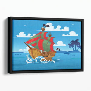 Pirate ship sails the seas Floating Framed Canvas