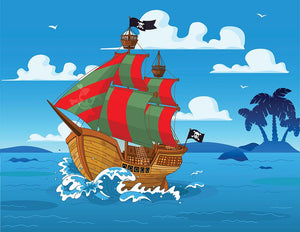 Pirate ship sails the seas Wall Mural Wallpaper - Canvas Art Rocks - 1