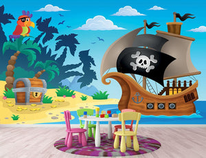Pirate ship topic image 5 Wall Mural Wallpaper - Canvas Art Rocks - 2
