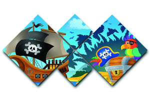 Pirate ship topic image 6 4 Square Multi Panel Canvas  - Canvas Art Rocks - 1