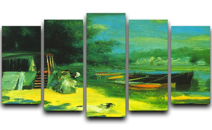 Place for Bading by Renoir 5 Split Panel Canvas