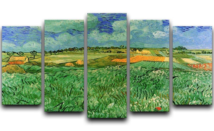 Plain Near Auvers by Van Gogh 5 Split Panel Canvas