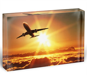 Plane takes off at sunrise Acrylic Block - Canvas Art Rocks - 1