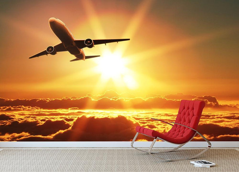 Plane takes off at sunrise Wall Mural Wallpaper - Canvas Art Rocks - 1