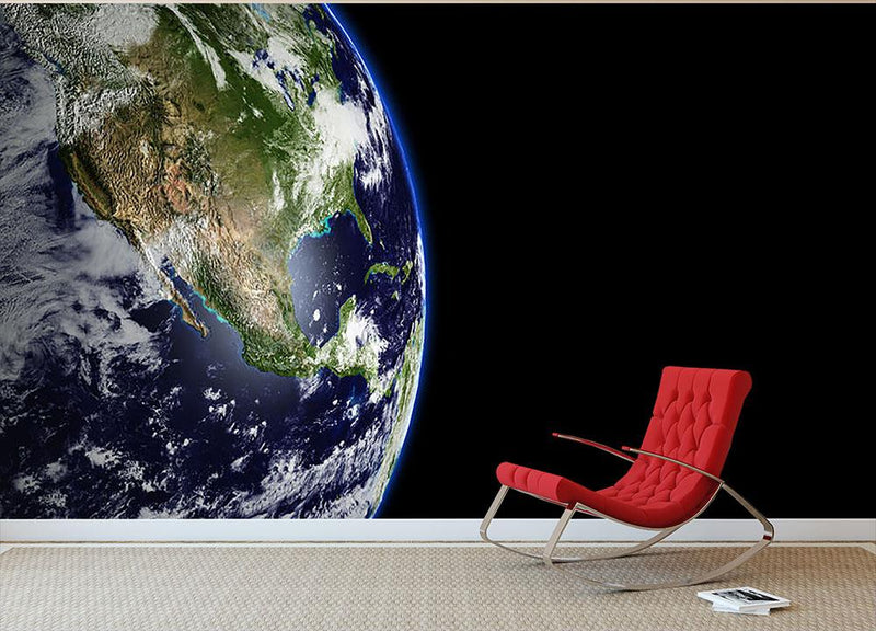 Planet Earth in universe or space Wall Mural Wallpaper - Canvas Art Rocks - 1