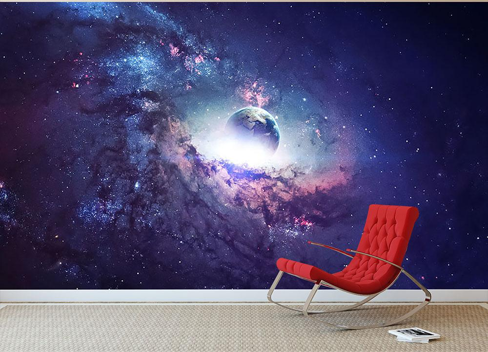 Planets Stars and Galaxies Wall Mural Wallpaper | Canvas ...