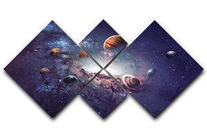 Planets in the solar system 4 Square Multi Panel Canvas  - Canvas Art Rocks - 1