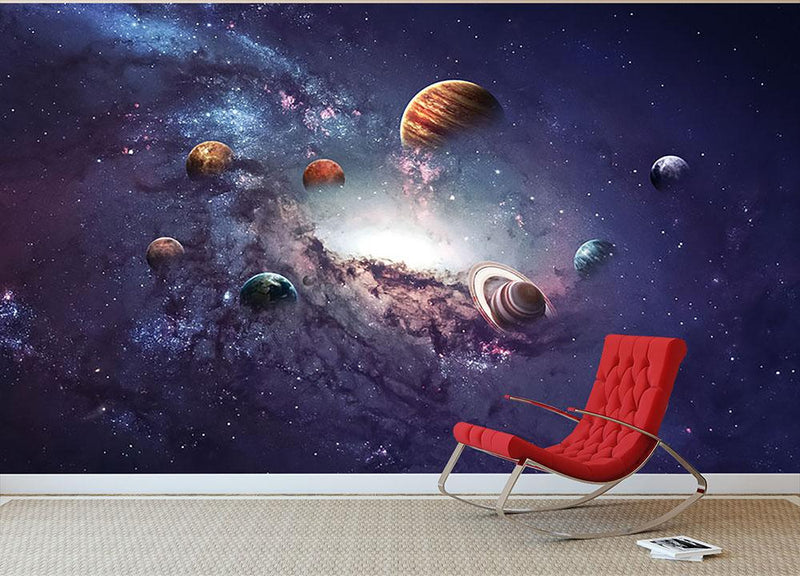 Planets in the solar system Wall Mural Wallpaper - Canvas Art Rocks - 1
