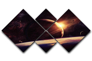 Planets over the nebulae in space 4 Square Multi Panel Canvas  - Canvas Art Rocks - 1
