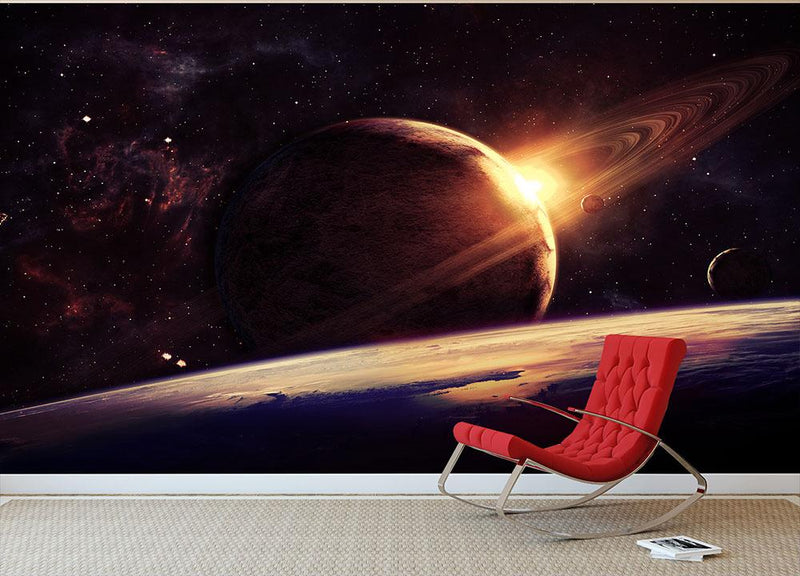 Planets over the nebulae in space Wall Mural Wallpaper - Canvas Art Rocks - 1