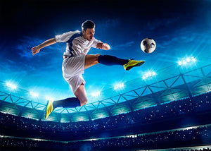 Player in action on night stadium Wall Mural Wallpaper - Canvas Art Rocks - 1
