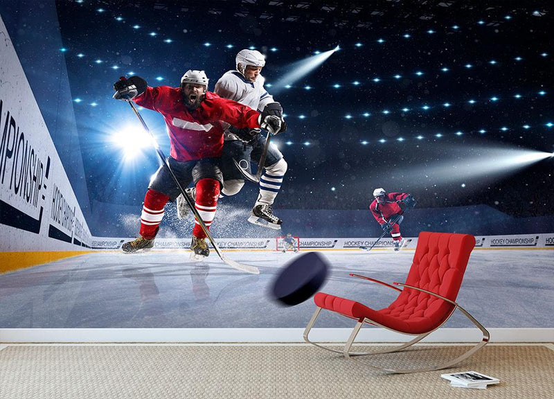 Player shoots the puck and attacks Wall Mural Wallpaper - Canvas Art Rocks - 1