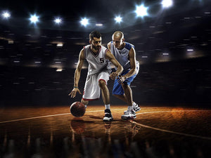 Players in action in gym in lights Wall Mural Wallpaper - Canvas Art Rocks - 1