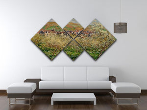 Plum trees in blossom by Monet 4 Square Multi Panel Canvas - Canvas Art Rocks - 3