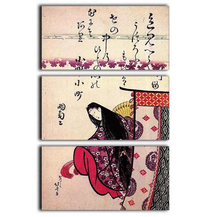 Poetess Ononokomatschi by Hokusai 3 Split Panel Canvas Print