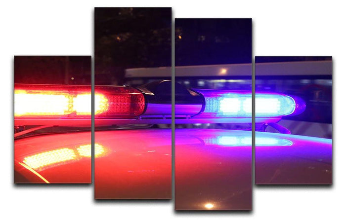 Police lights 4 Split Panel Canvas