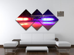 Police lights 4 Square Multi Panel Canvas  - Canvas Art Rocks - 3