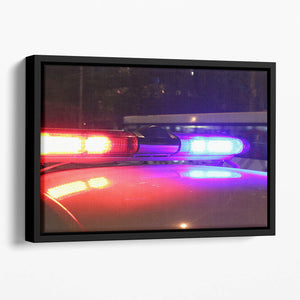 Police lights Floating Framed Canvas