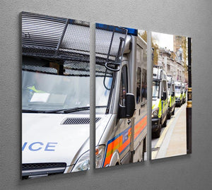 Police vans in a row 3 Split Panel Canvas Print - Canvas Art Rocks - 2