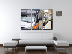 Police vans in a row 3 Split Panel Canvas Print - Canvas Art Rocks - 3