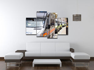 Police vans in a row 4 Split Panel Canvas  - Canvas Art Rocks - 3