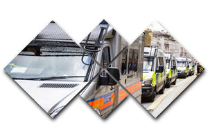 Police vans in a row 4 Square Multi Panel Canvas  - Canvas Art Rocks - 1