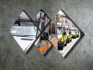 Police vans in a row 4 Square Multi Panel Canvas  - Canvas Art Rocks - 2