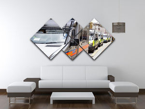 Police vans in a row 4 Square Multi Panel Canvas  - Canvas Art Rocks - 3