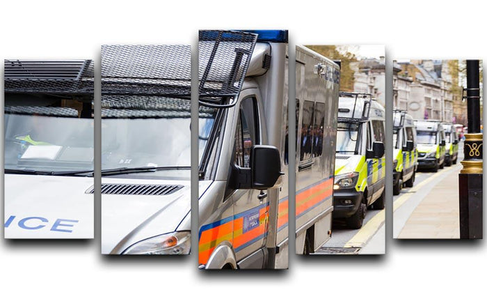 Police vans in a row 5 Split Panel Canvas