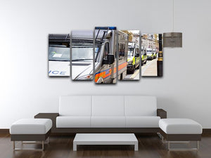 Police vans in a row 5 Split Panel Canvas  - Canvas Art Rocks - 3