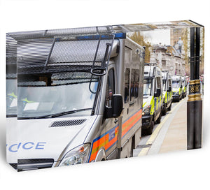 Police vans in a row Acrylic Block - Canvas Art Rocks - 1