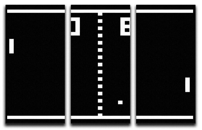 Pong Video Game 3 Split Canvas Print