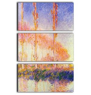 Poplars 2 by Monet 3 Split Panel Canvas Print - Canvas Art Rocks - 1