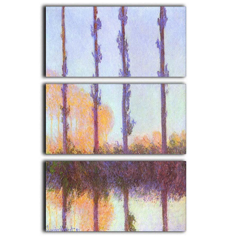 Poplars 3 by Monet 3 Split Panel Canvas Print - Canvas Art Rocks - 1