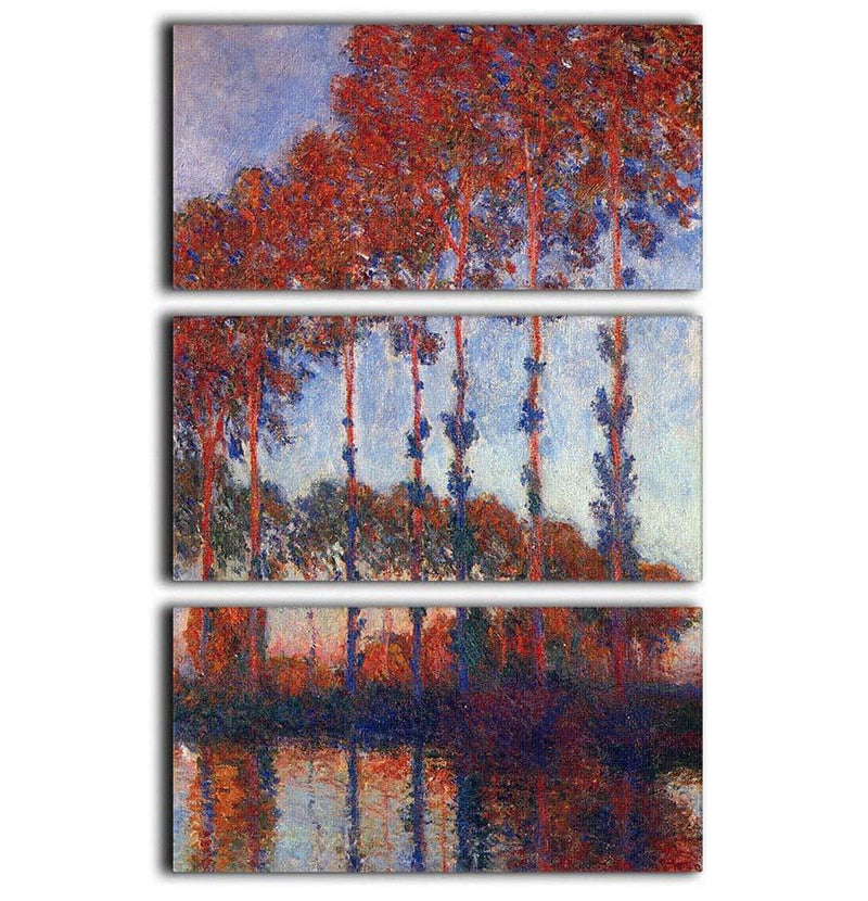 Poplars by Monet 3 Split Panel Canvas Print - Canvas Art Rocks - 1