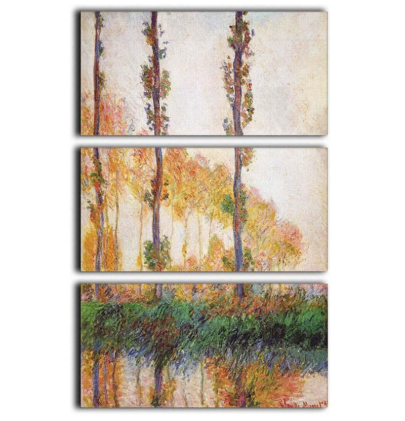 Poplars in Autumn 2 by Monet 3 Split Panel Canvas Print - Canvas Art Rocks - 1