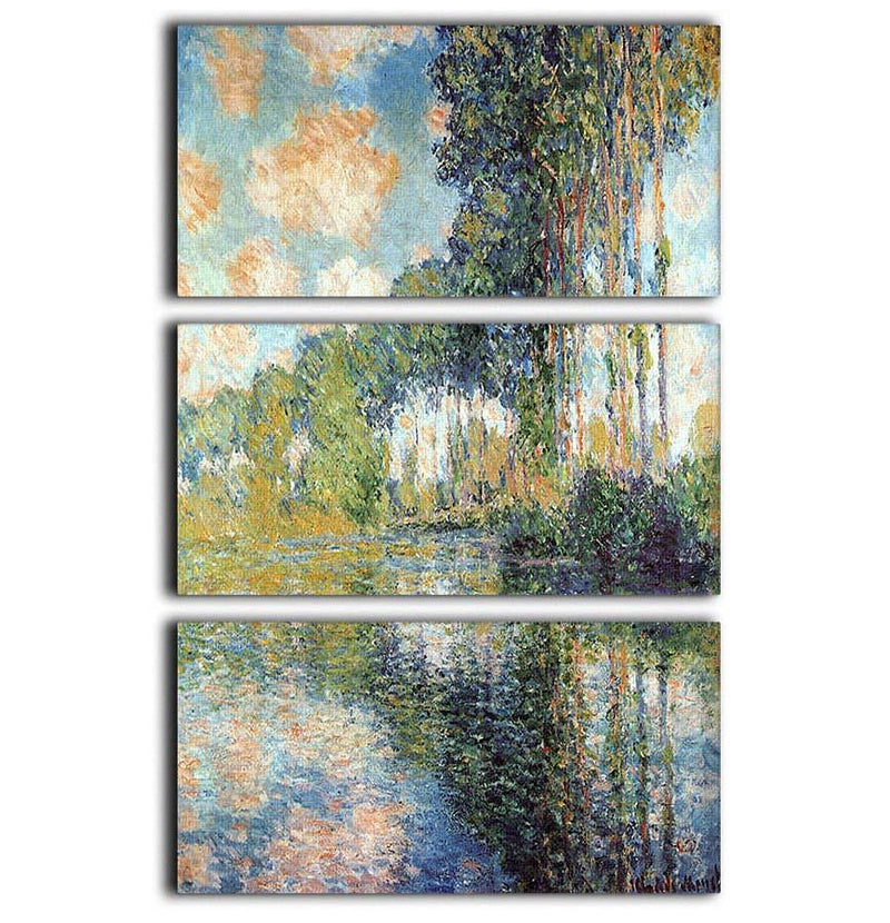Poplars on the Epte by Monet 3 Split Panel Canvas Print - Canvas Art Rocks - 1