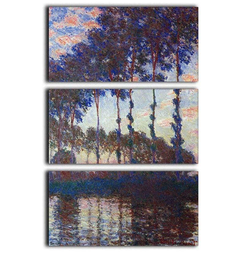 Poplars sunset by Monet 3 Split Panel Canvas Print - Canvas Art Rocks - 1
