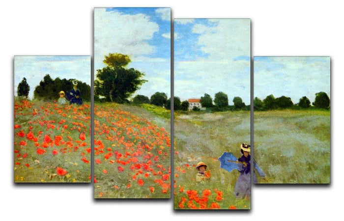 Poppies by Monet 4 Split Panel Canvas