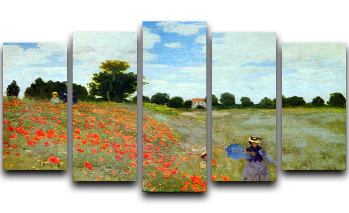 Poppies by Monet 5 Split Panel Canvas