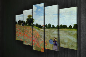 Poppies by Monet 5 Split Panel Canvas - Canvas Art Rocks - 2