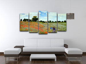 Poppies by Monet 5 Split Panel Canvas - Canvas Art Rocks - 3