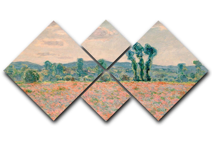Poppy Field by Monet 4 Square Multi Panel Canvas